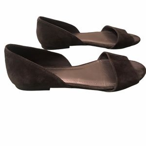 Bcbgeneration Grey Open Toe Suede Flats 5